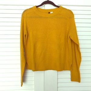 Long Sleeve Cropped Mustard Sweater